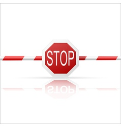 Barrier with a Stop on a white background vector image vector image