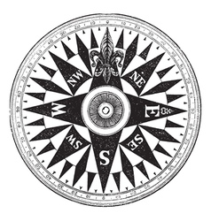 British Navy Compass vintage engraving vector image
