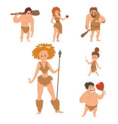 caveman primitive stone age cartoon neanderthal vector image vector image