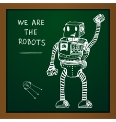 Chalk draw robot on blackboard eps10 vector