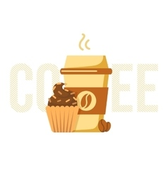 Coffee cup and muffin vector image vector image