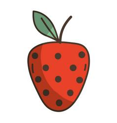Delicious fresh strawberry organic fruit vector