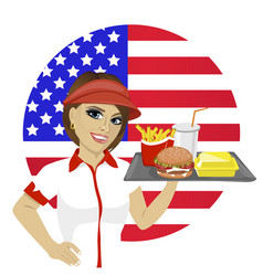 Employee with fast food on tray over usa flag vector
