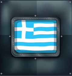Greece flag on metal wall vector