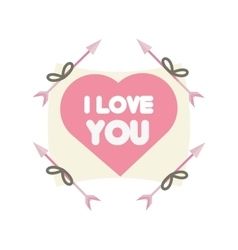 Greeting i love you heart arrow ribbon vector