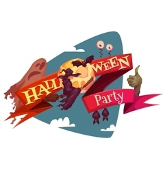 Halloween party banner wih witch and moon vector