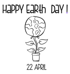 Hand draw style earth day with flower vector