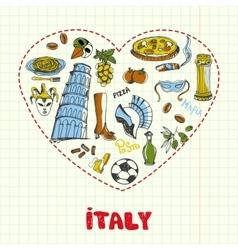Italy pen drawn doodles collection vector
