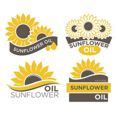 Natural sunflower oil logotypes set vector