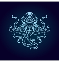 Octopus in retro deep diving suit eye of vector