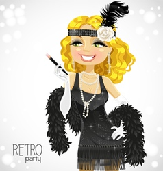 retro glamour gangster girl vector image