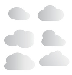 set cloud icon on white background white cloud vector image
