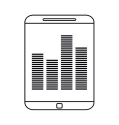 Smartphone screen equalizer music outline vector