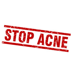 Square grunge red stop acne stamp vector