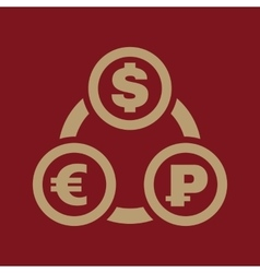The currency exchange dollar euro ruble icon vector