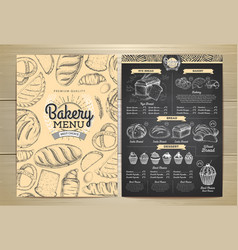 Vintage chalk drawing bakery menu design vector