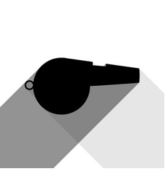 whistle sign black icon with two flat vector image vector image