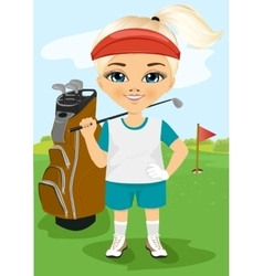 Young little girl with a golf club vector image