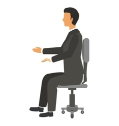 Businessman sitting on chair icon vector