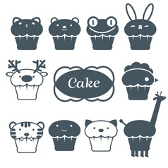 10 cakes set vector