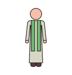 Priest with religion icons vector