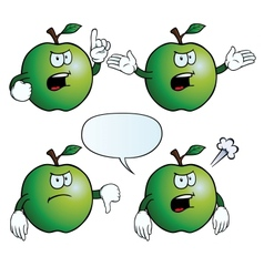 Angry apple set vector image