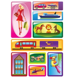 Different childrens toys in boxes vector image