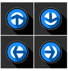 Four white blue arrows and black shadows vector