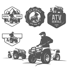 Set of ATV labels badges and design elements vector image