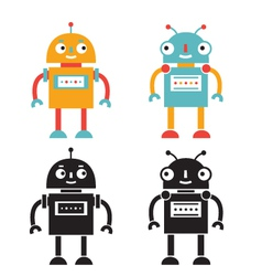 Robots set color and black versions vector