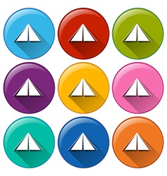 Round icons with camping tents vector