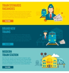 Railway banner set vector