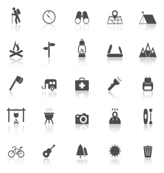 Trekking icons with reflect on white background vector