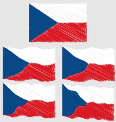 Flat and waving hand draw sketch flag of czech vector