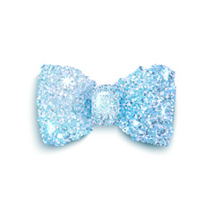Sparkling blue glitter decorated bow trendy fashio vector image