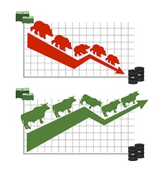 Bear and bull rise and fall of oil quotations red vector