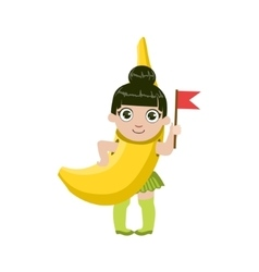 Girl dressed as banana vector