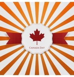 Canada day textile red and white greeting badge vector