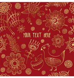 Retro Floral Bird Pattern vector image