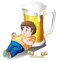 A fat boy with cans of beer near a big glass vector image