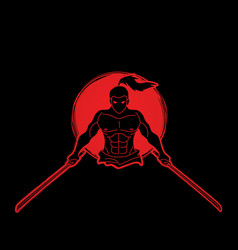 Angry samurai standing with swords front view vector