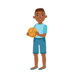 Black teenage boy with ball part of growing vector
