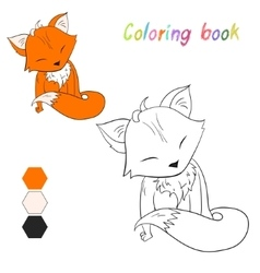 Coloring book fox kids layout for game vector