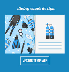 Cover design for print with diving equipment vector
