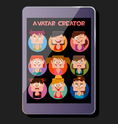 Create a square avatar girl emotions display vector