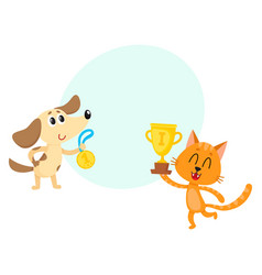 dog and red cat characters champions with golden vector image vector image