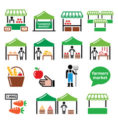 farmers market food market icons set vector image vector image