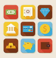 Flat finance and banking squared app icons set vector