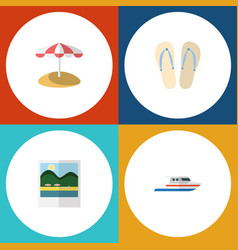 flat icon beach set of boat reminders parasol vector image