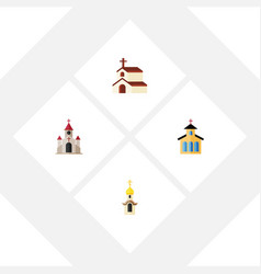 Flat icon church set of religion structure vector